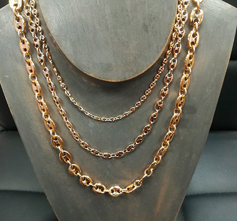 collier plaque or homme